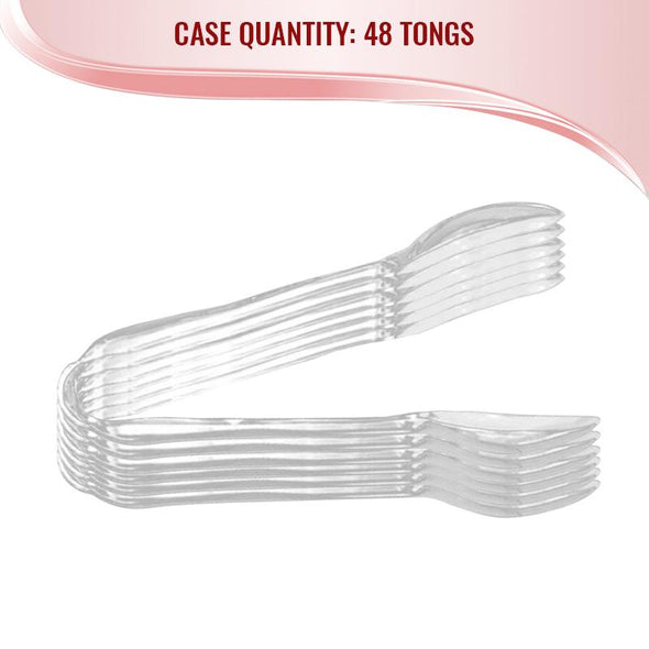 "11"" Clear Disposable Plastic Serving Tongs"