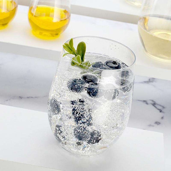 16 oz. Clear Elegant Stemless Disposable Plastic Wine Glasses