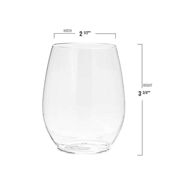 12 oz. Clear Elegant Stemless Plastic Wine Glasses