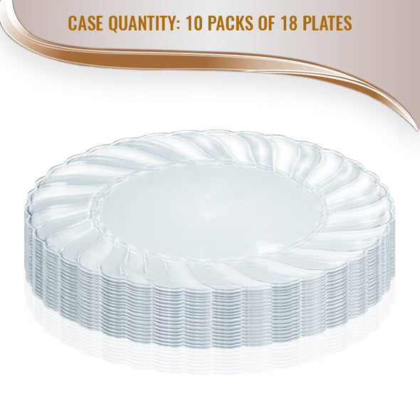 "9"" Clear Flair Plastic Buffet Plates"