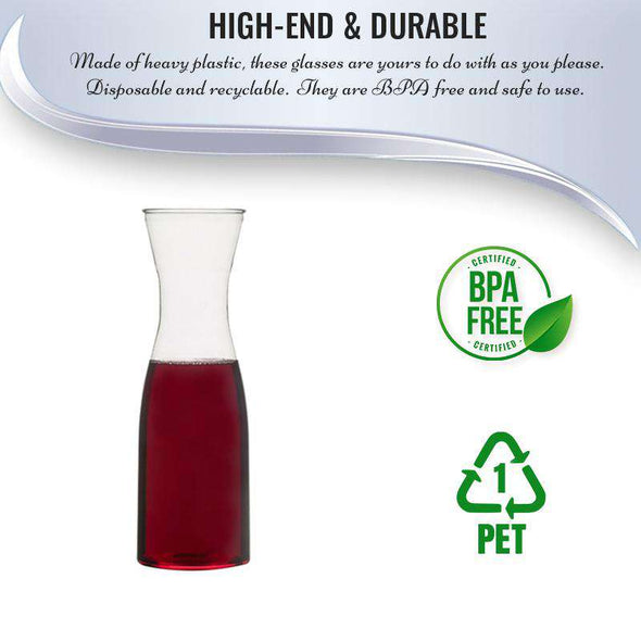35 oz. Clear Large Disposable Plastic Wine Carafes with Lids