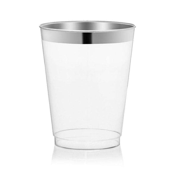 10 oz. Clear with Metallic Silver Rim Round Tumblers