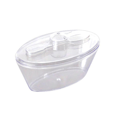 Clear Oval Plastic Mini Cup with Lid and Spoon