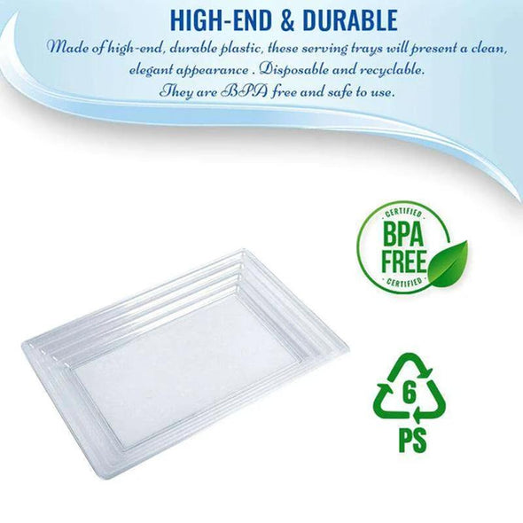 "9"" x 13"" Clear Rectangular with Groove Rim Plastic Serving Trays"