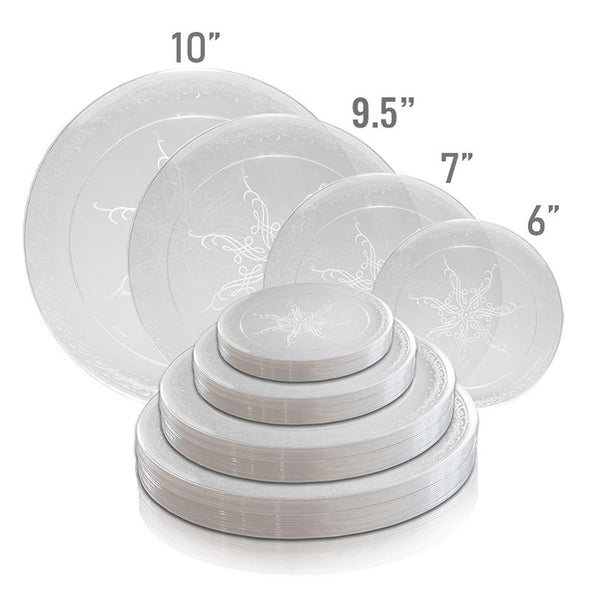 "10"" Clear with Scroll Plastic Dinner Plates"
