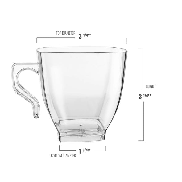 8 oz. Clear Square Plastic Coffee Mugs