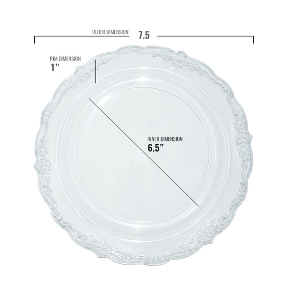 "7.5"" Clear Vintage Round Disposable Plastic Appetizer/Salad Plates"
