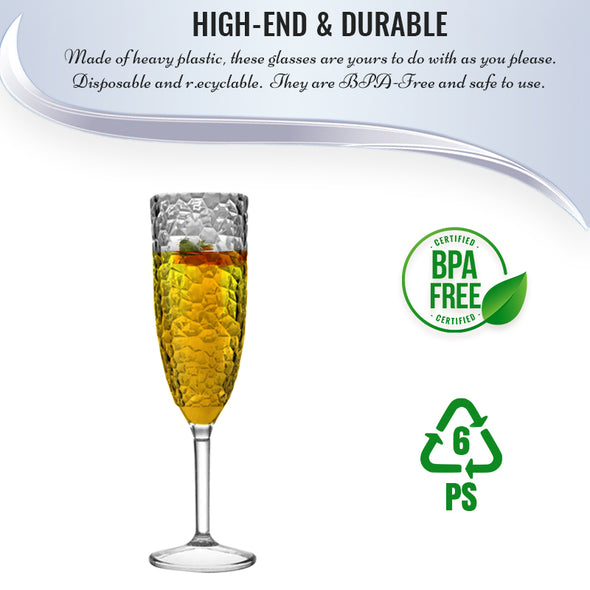 Crystal Disposable Plastic Champagne Flutes BPA