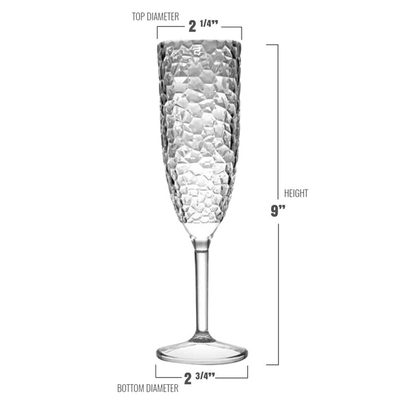 Crystal Disposable Plastic Champagne Flutes Dimension
