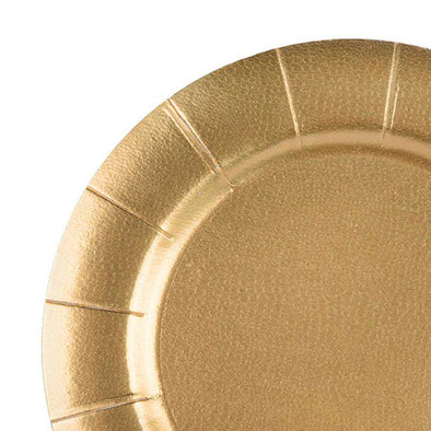 "13"" Gold Round Disposable Paper Charger Plates"