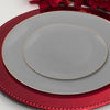 "10.25"" Gray with Gold Organic Round Disposable Plastic Dinner Plates"