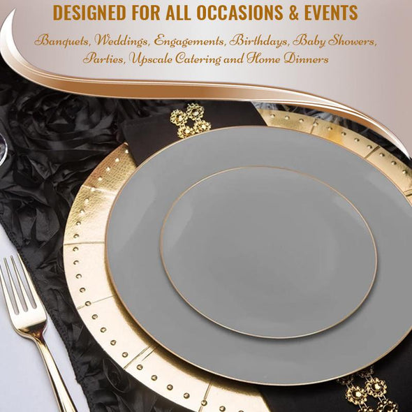 Gray with Gold Organic Round Disposable Plastic Dinnerware Value Set