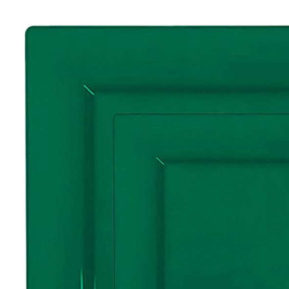 Hunter Green Square Plastic Plates Dinnerware Value Set