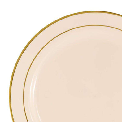 "7.5"" Ivory with Gold Edge Rim Plastic Appetizer/Salad Plates"