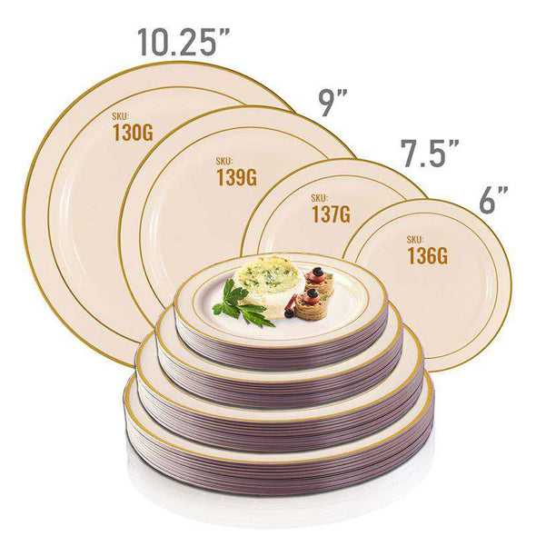 "10.25"" Ivory with Gold Edge Rim Plastic Dinner Plates"