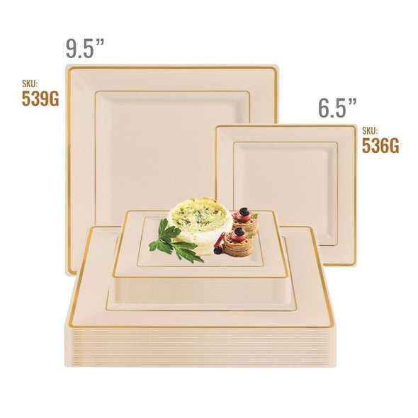 Ivory with Gold Square Edge Rim Plastic Dinnerware Value Set