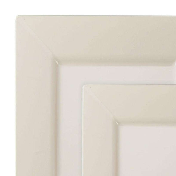 Ivory Square Plastic Plates Dinnerware Value Set
