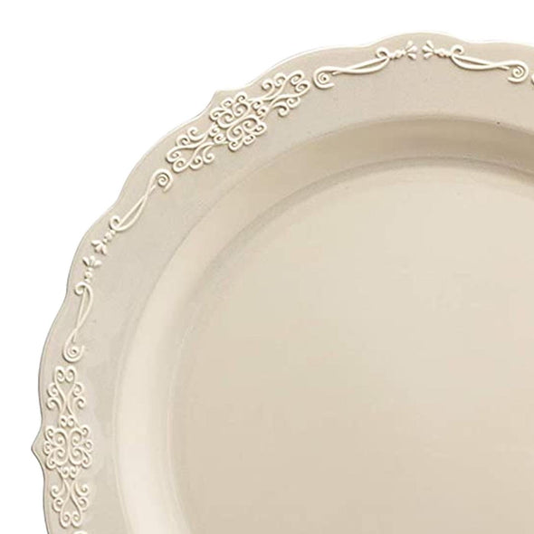 "10"" Ivory Vintage Round Disposable Plastic Dinner Plates"