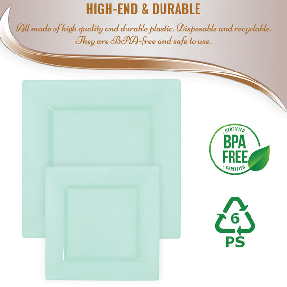 "6.5"" Mint Green Square Disposable Plastic Cake Plates"