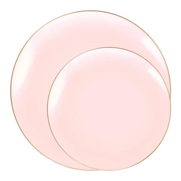 Pink with Gold Organic Round Disposable Plastic Dinnerware Value Set
