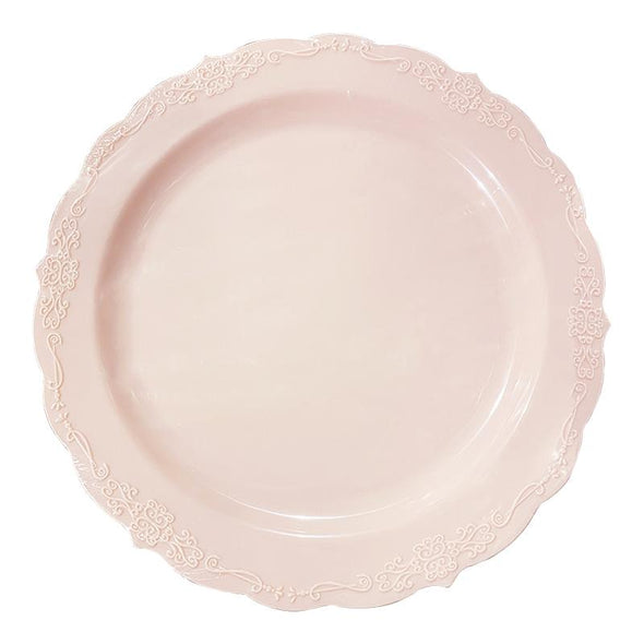 "7.5"" Pink Vintage Round Disposable Plastic Appetizer/Salad Plates Secondary"