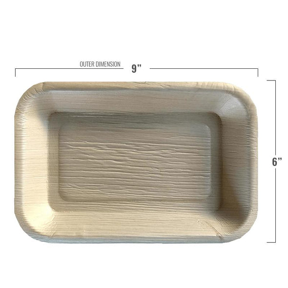 "9"" x 6"" Rectangular Natural Palm Leaf Eco-Friendly Disposable Trays"