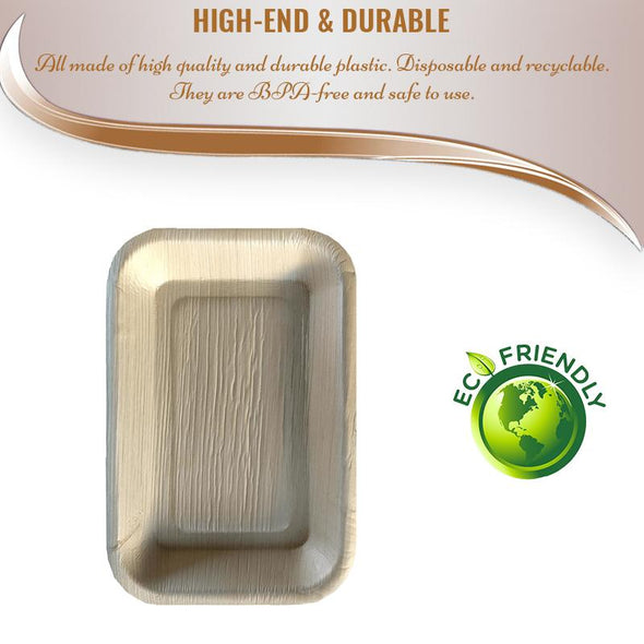 "11"" x 7"" Rectangular Natural Palm Leaf Eco-Friendly Disposable Trays"
