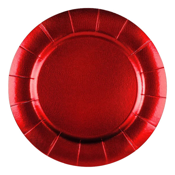 "13"" Red Round Disposable Paper Charger Plates"
