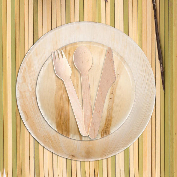 "12"" Round Palm Leaf Eco Friendly Disposable Dinner Plates"