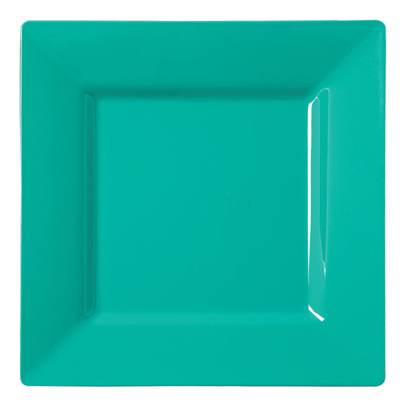 "6.5"" Sea Aqua Square Disposable Plastic Cake Plates"