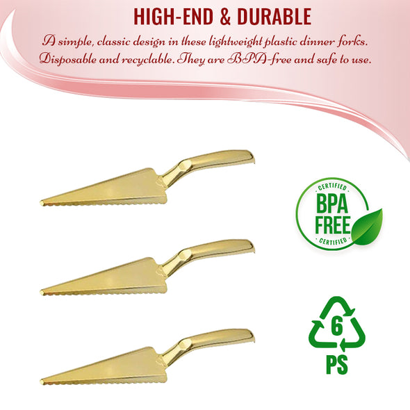 Shiny Gold Disposable Plastic Cake CutterLifter BPA
