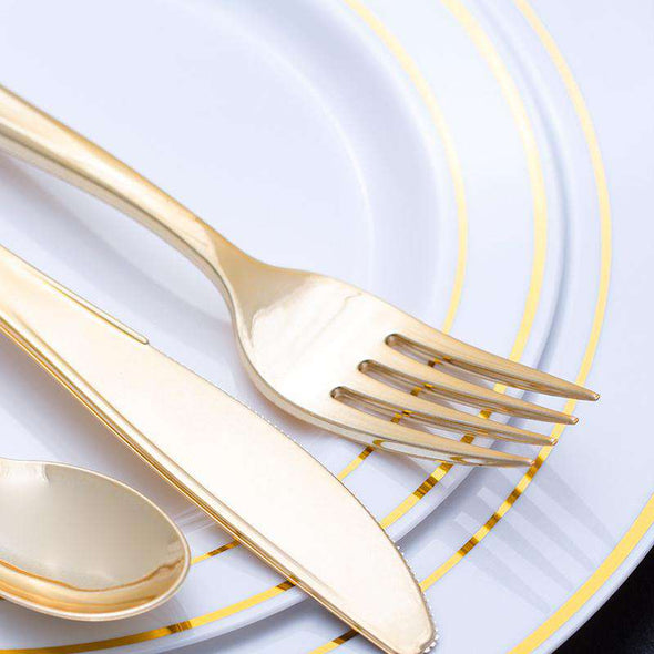 Shiny Metallic Gold Plastic Forks