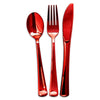 Shiny Metallic Red Classic Plastic Cutlery Set - 24 Spoons, 24 Forks and 24 Knives
