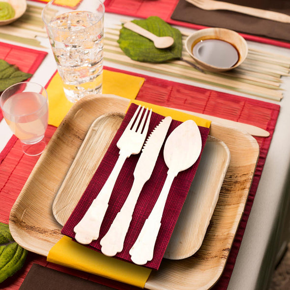 Silhouette Palm Leaf Eco Friendly Disposable Dinner Forks
