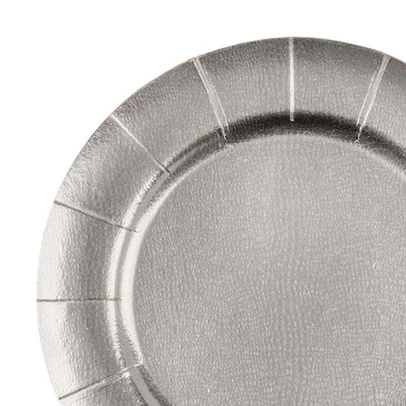 "13"" Silver Round Disposable Paper Charger Plates"