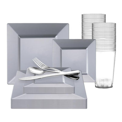 Silver Square Plastic Wedding Value Set