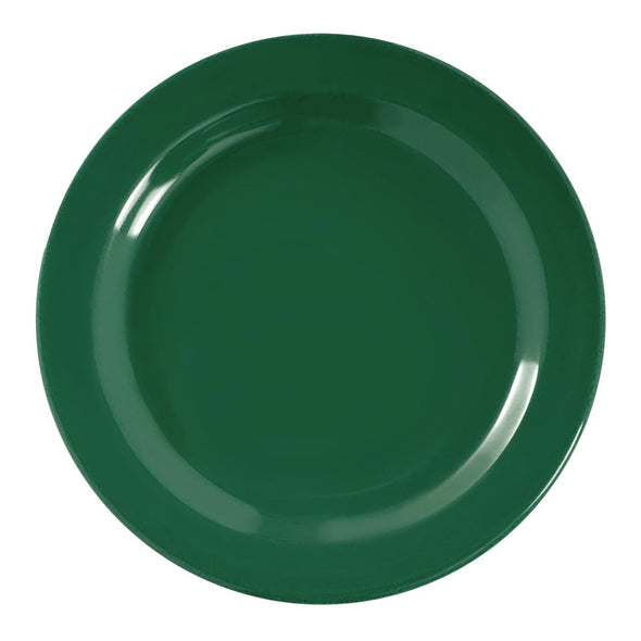 "7.5"" Solid Green Holiday Round Disposable Plastic Appetizer/Salad Plates"