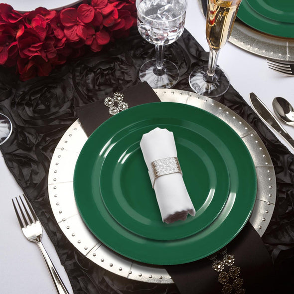 "10.25"" Solid Green Holiday Round Disposable Plastic Dinner Plates"