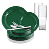 Solid Green Holiday Round Disposable Plastic Wedding Value Set