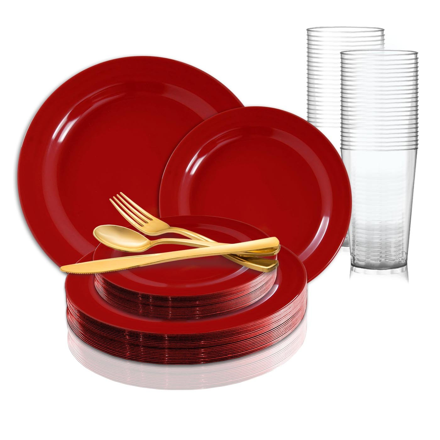 Plastic Plates Red Round Wedding Value Set Smarty Had A Party