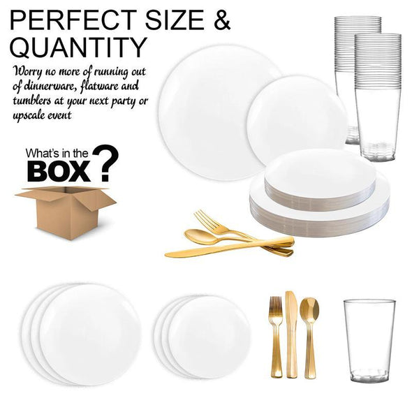 Solid White Organic Round Disposable Plastic Wedding Value Set