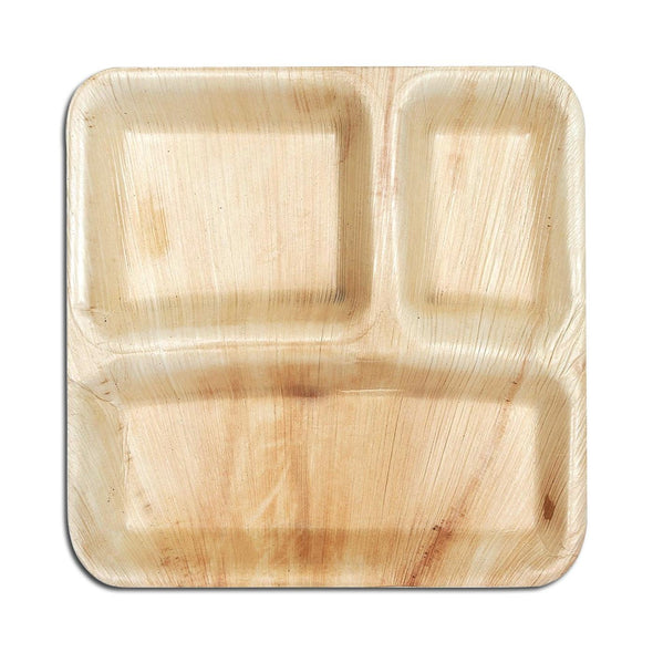 10 Square Palm Leaf 3-Partition Eco Friendly Disposable Dinner Plates