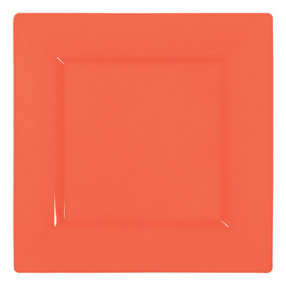 "6.5"" Tropical Coral Square Disposable Plastic Cake Plates"