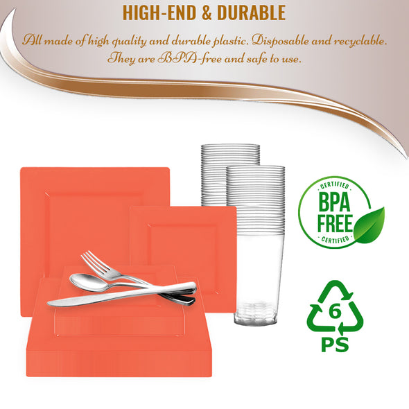 Tropical Coral Square Disposable Plastic Wedding Value Set BPA-Free