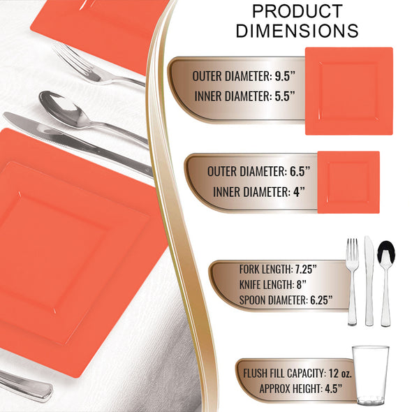 Tropical Coral Square Disposable Plastic Wedding Value Set Infographics