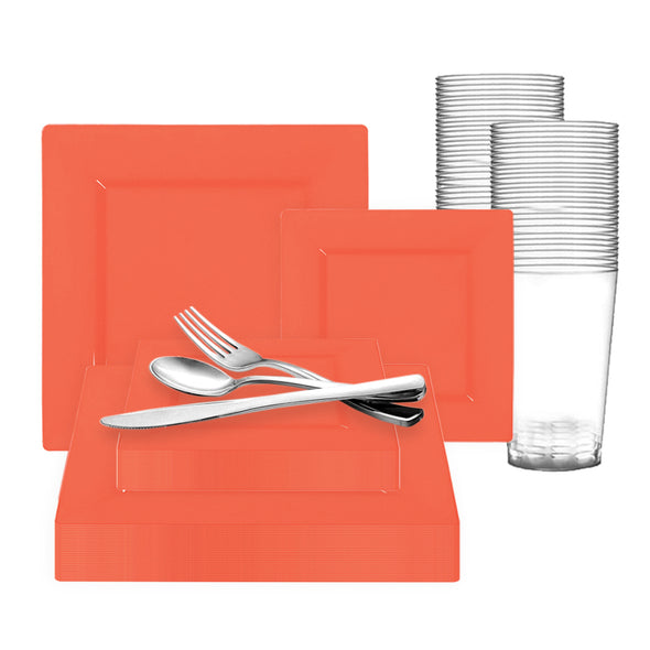Tropical Coral Square Disposable Plastic Wedding Value Set