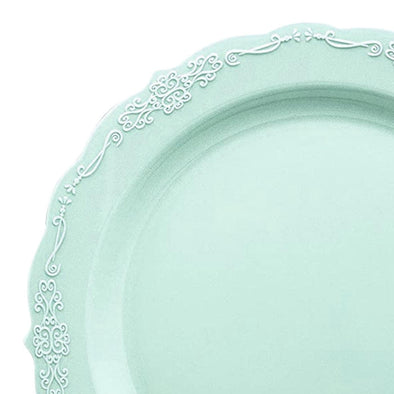 "10"" Turquoise Vintage Round Disposable Plastic Dinner Plates"