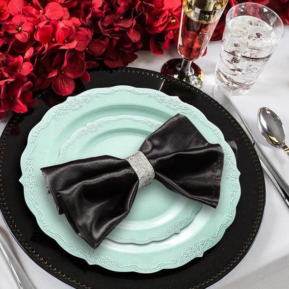 Turquoise Vintage Round Disposable Plastic Wedding Value Set