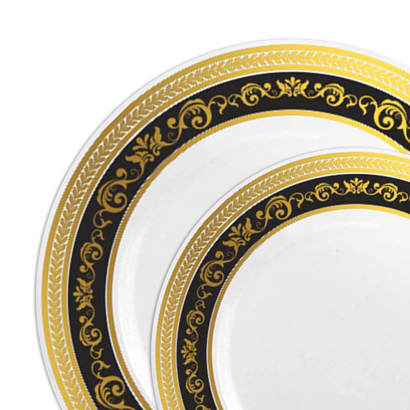 White with Black and Gold Royal Rim Plastic Dinnerware Value Set