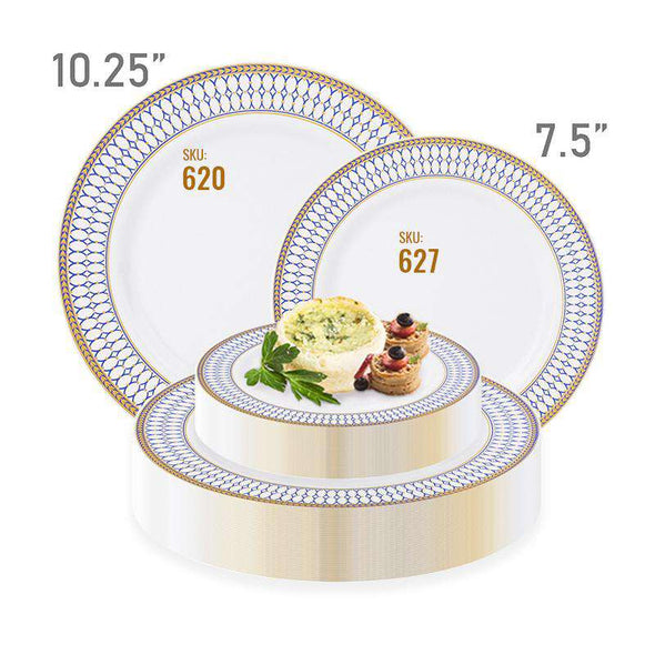 "10.25"" White with Blue and Gold Chord Rim Plastic Dinner Plates"